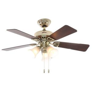 Indoor Hill Bright Brass Ceiling Fan With Light