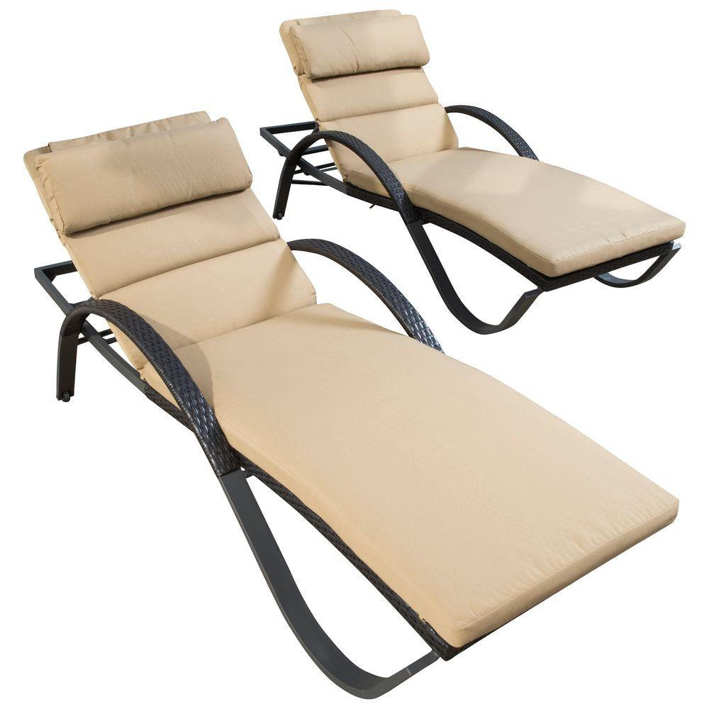rst brands deco patio lounger with delano beige cushion 2 pack - Chaise Deco