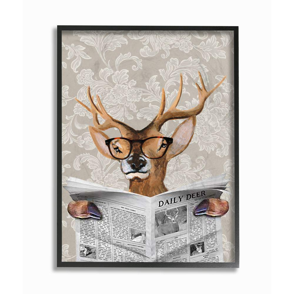 The Stupell Home Decor Collection 24 In X 30 In Deer Reading Newspaper With Big Glasses By Coco De Paris Framed Wall Art Cdp 105 Fr 24x30 The Home Depot