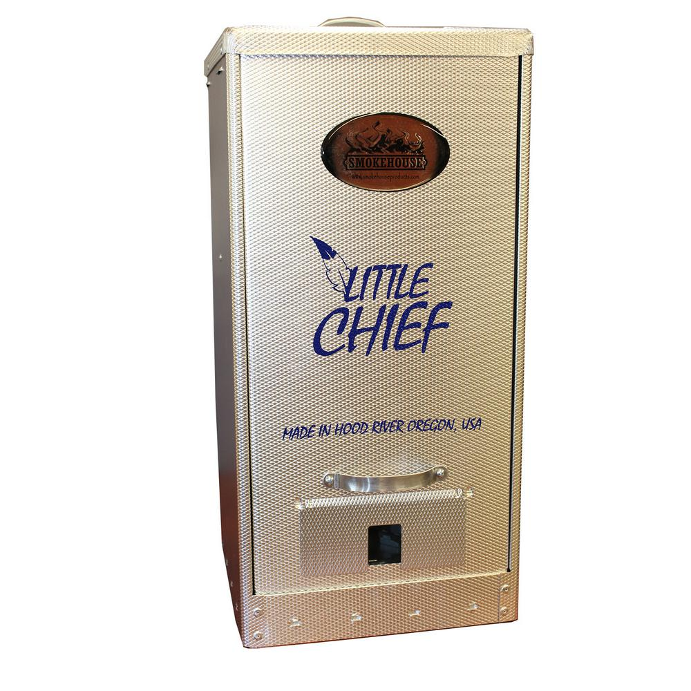 Smokehouse Products Little Chief Front Load Smoker The Little Chief Front Load Electric Smoker is our original line electric smokers and a customer favorite since its introduction in 1968. The Little Chief smokers are electric and plug into any standard 3-prong 110-120 AC outlet. The Little Chief heating element will heat the smoking chamber to approximately 165° Fahrenheit. The Little Chief is perfect for smoking salmon, trout, other fish, jerky, sausage, fruits, nuts, cheese, turkey, bacon, hams, steaks and really any other types of foods.