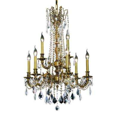 9-Light French Gold Chandelier with Clear Crystal