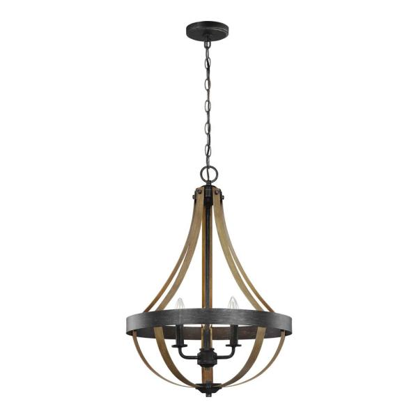 Davlin 18 in. W. 3-Light Weathered Gray and Distressed Oak Pendant