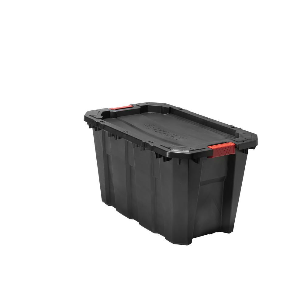 storage bins totes 35 gal latch stack black lockable heavy duty organizer box ebay. Black Bedroom Furniture Sets. Home Design Ideas