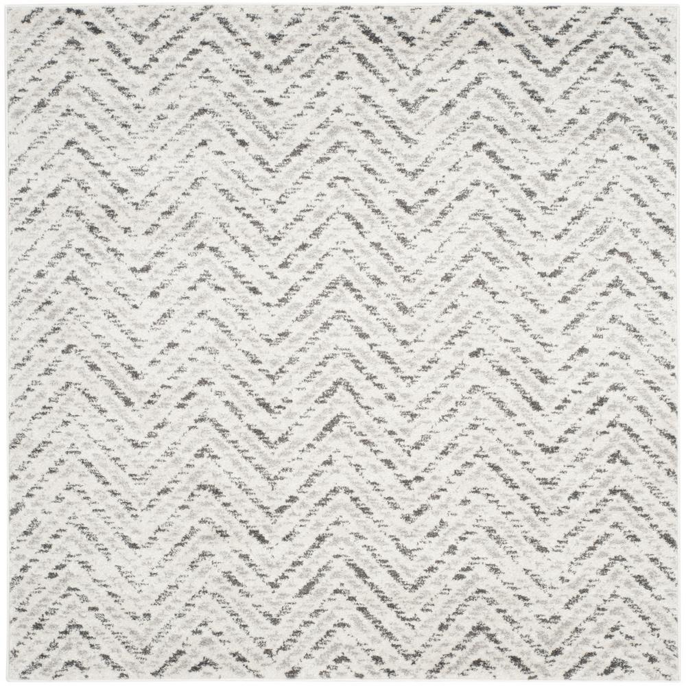 Adirondack Ivory/Charcoal 4 ft. x 4 ft. Square Area Rug