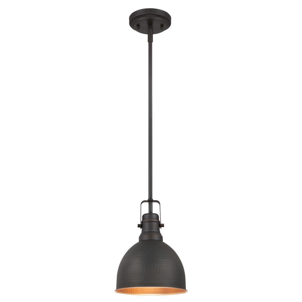 Mini bronze pendant lights lighting the home depot 1 light oil rubbed bronze with highlights mini pendant aloadofball Images