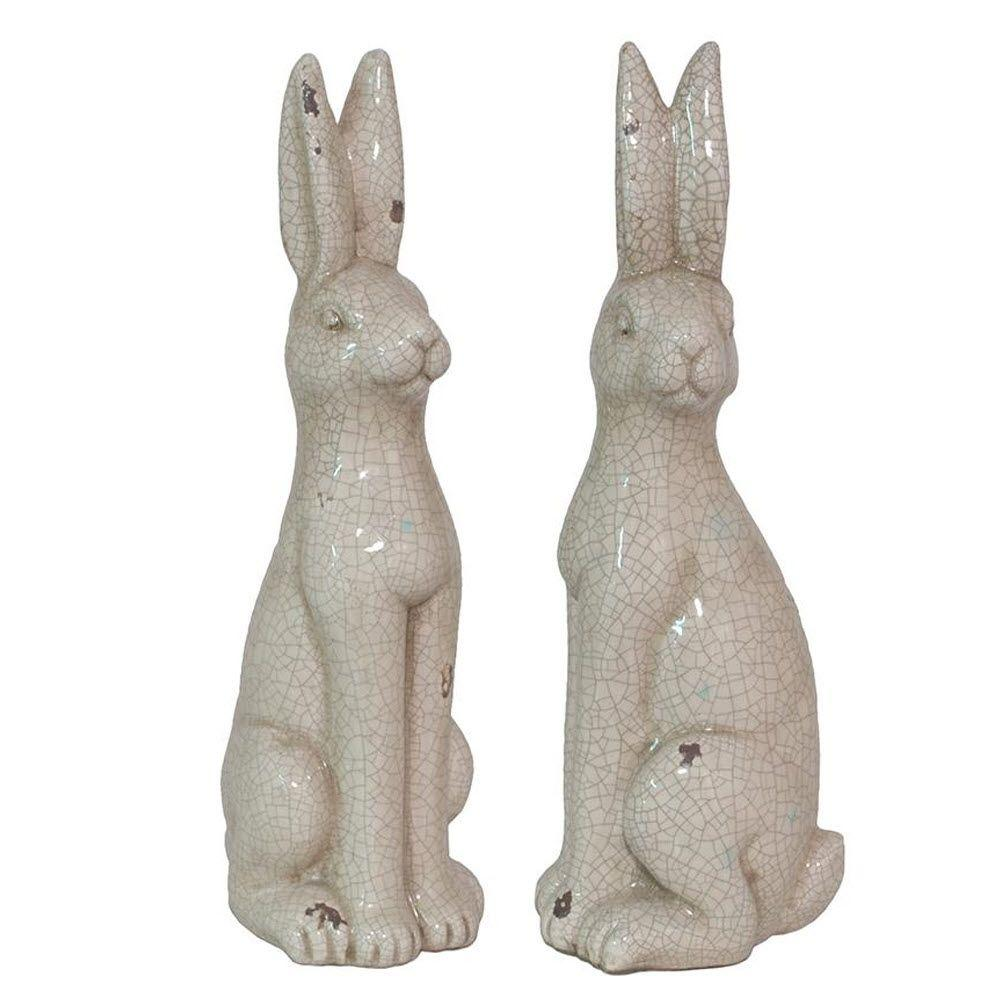 Home Decorators Collection 18 in. H Sitting Rabbits Decorative Figurine in Antique White (Set of 2)