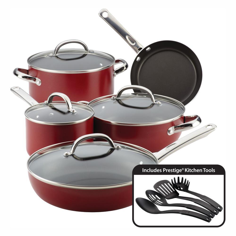 13-Piece Red Buena Cocina Aluminum Non-Stick Cookware Set