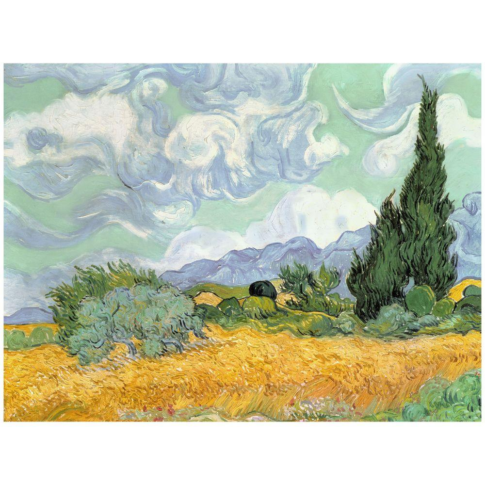 14 in. x 19 in. Wheatfield with Cypresses Canvas Art
