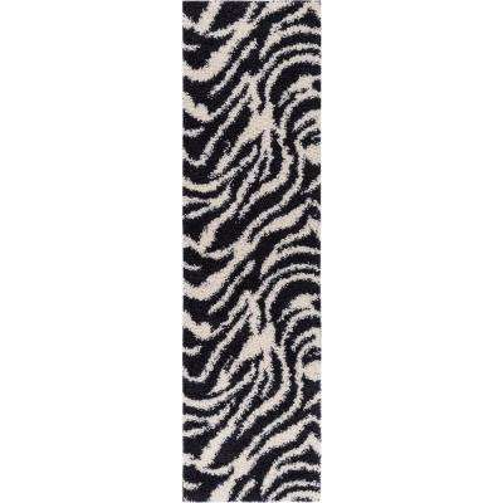 Madison Shag Safari Zebra Black 2 ft. x 7 ft. 3 in. Contemporary Geometric Runner
