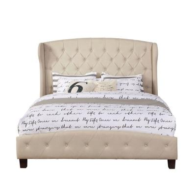 Beige Queen Size Upholstered Shelter Bed