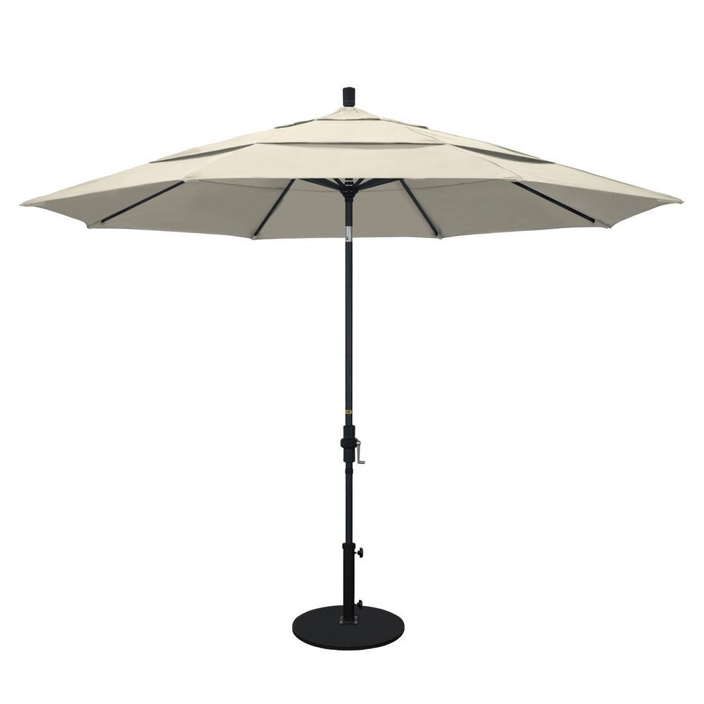 11 ft. Aluminum Collar Tilt Double Vented Patio Umbrella in Antique Beige Olefin
