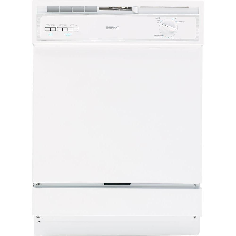G.E. Appliances Built-In Front Control Dishwasher in White Hotpoint combines easy-to-use features with practical design to complement any kitchen. These appliances have been created to affordably meet the needs of busy lives. Discover how easy it can be to rejuvenate your home and add a little extra zest to your kitchen. Color: White.
