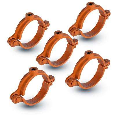 4 in. Hinged Split Ring Pipe Hanger in Copper Epoxy Coated Iron (5-Pack)
