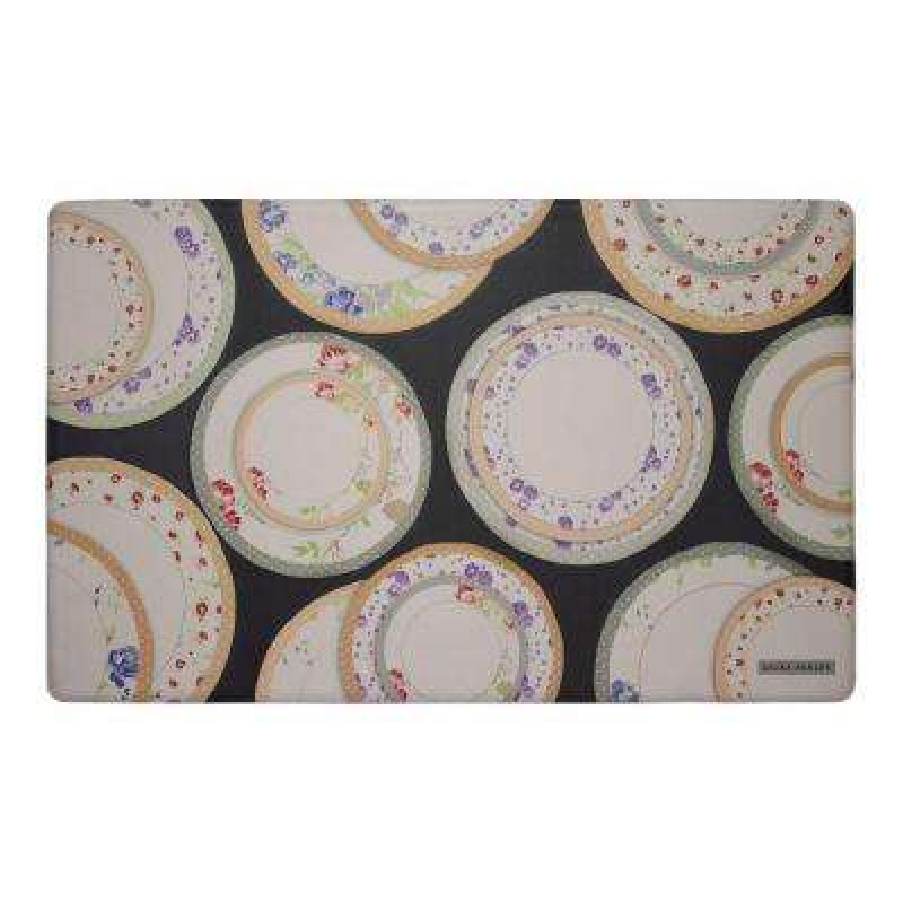 Tea Plates Black 20 in. x 32 in. Memory Foam Kitchen Mat