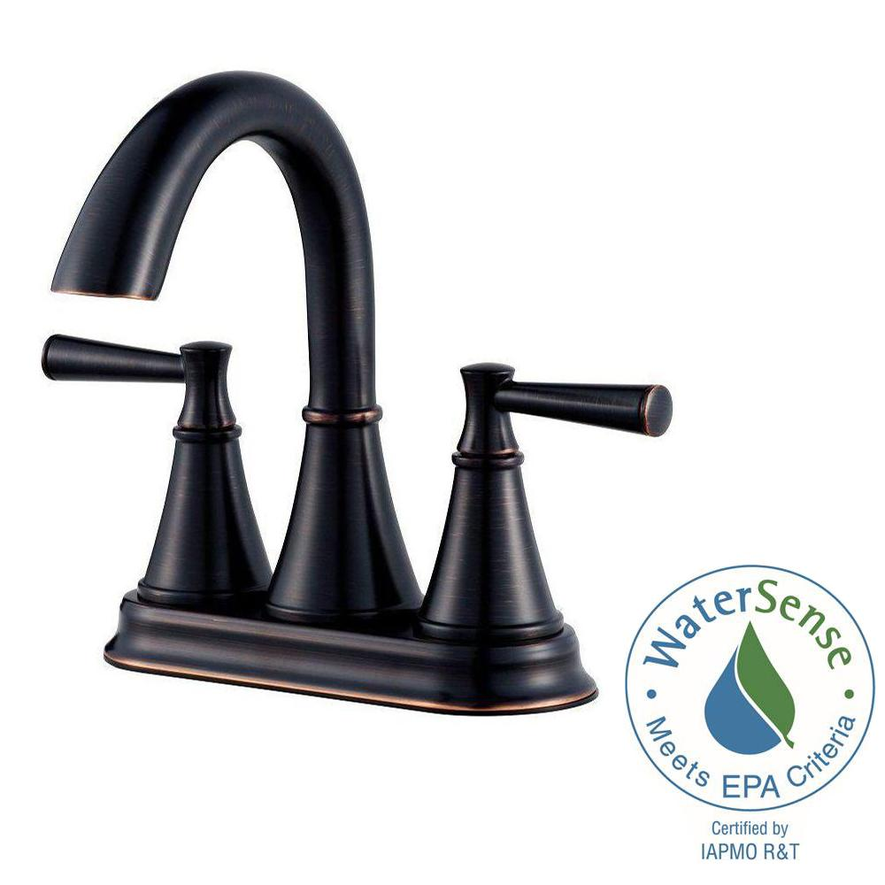 Pfister Cantara 4 in. Centerset 2-Handle Bathroom Faucet in Tuscan ...