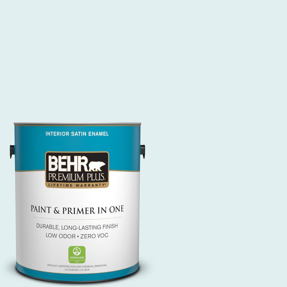 BEHR Premium Plus 1-gal. #500C-1 Himalayan Mist Zero VOC Satin Enamel Interior Paint