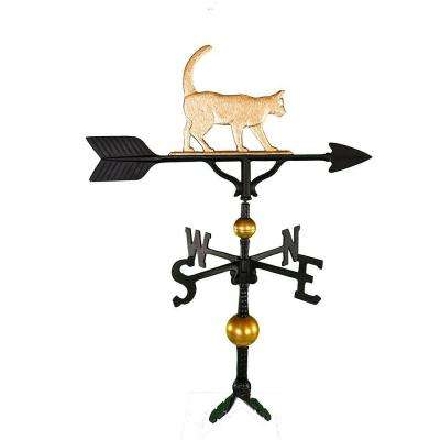 32 in. Deluxe Gold Cat Weathervane