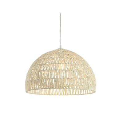 Campana 20 in. Woven Rattan Dome LED Pendant, Cream