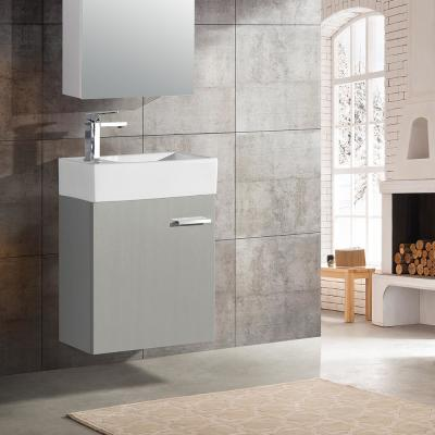 Colmer 18 in. Single, 1 Cabinet, Bathroom Vanity in Gray with White Countertop with White Basin