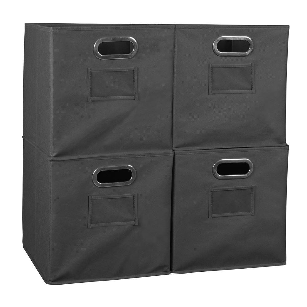 Cheer 12 in. D x  12 in. W x 12 in. H Grey Folding Fabric Bin Closet System (4-Pack)