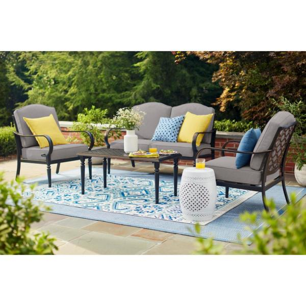 Laurel Oaks 4-Piece Brown Steel Outdoor Patio Conversation Seating Set with CushionGuard Stone Gray Cushions