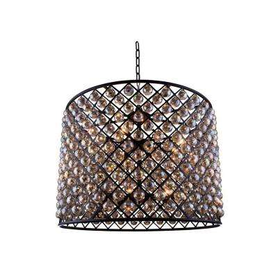 Madison 12-Light Mocha Brown Chandelier with Golden Teak Smoky Crystal