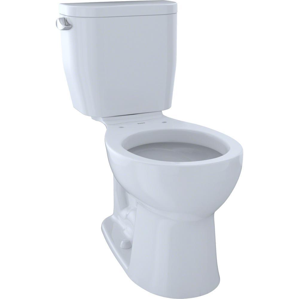 Entrada 2-Piece 1.28 GPF Single Flush Round Toilet in Cotton White