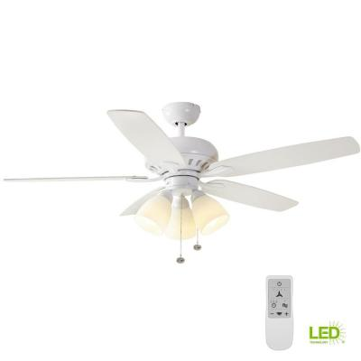 Rockport 52 in. Matte White LED Smart Ceiling Fan with Light and Remote Works with Google Assistant and Alexa