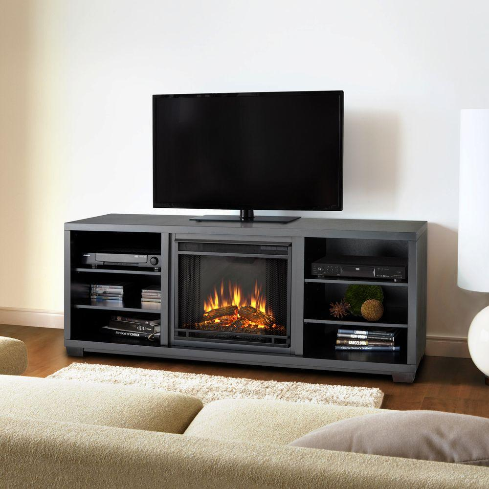 Real Flame Marco 70 in. Media Console Electric Fireplace in Black-DISCONTINUED
