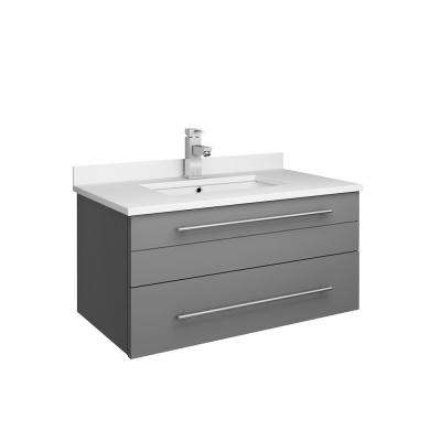 Lucera 30 in. W Wall Hung Bath Vanity in Gray with Quartz Stone Vanity Top in White with White Basin