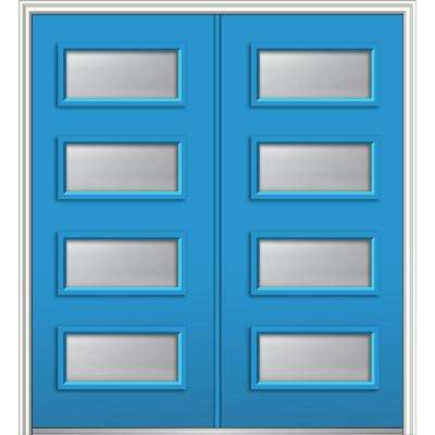 72 in. x 80 in. Celeste Left-Hand Inswing 4-Lite Frosted Painted Fiberglass Smooth Prehung Front Door 4-9/16 in. Frame