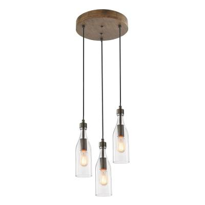Salvish 3-Light Rustic Bronze Wood Chandelier with Clear Glass