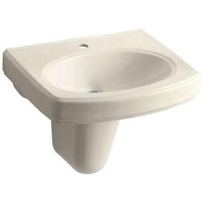 Pinoir Wall-Mount Vitreous China Bathroom Sink in Almond with Overflow Drain