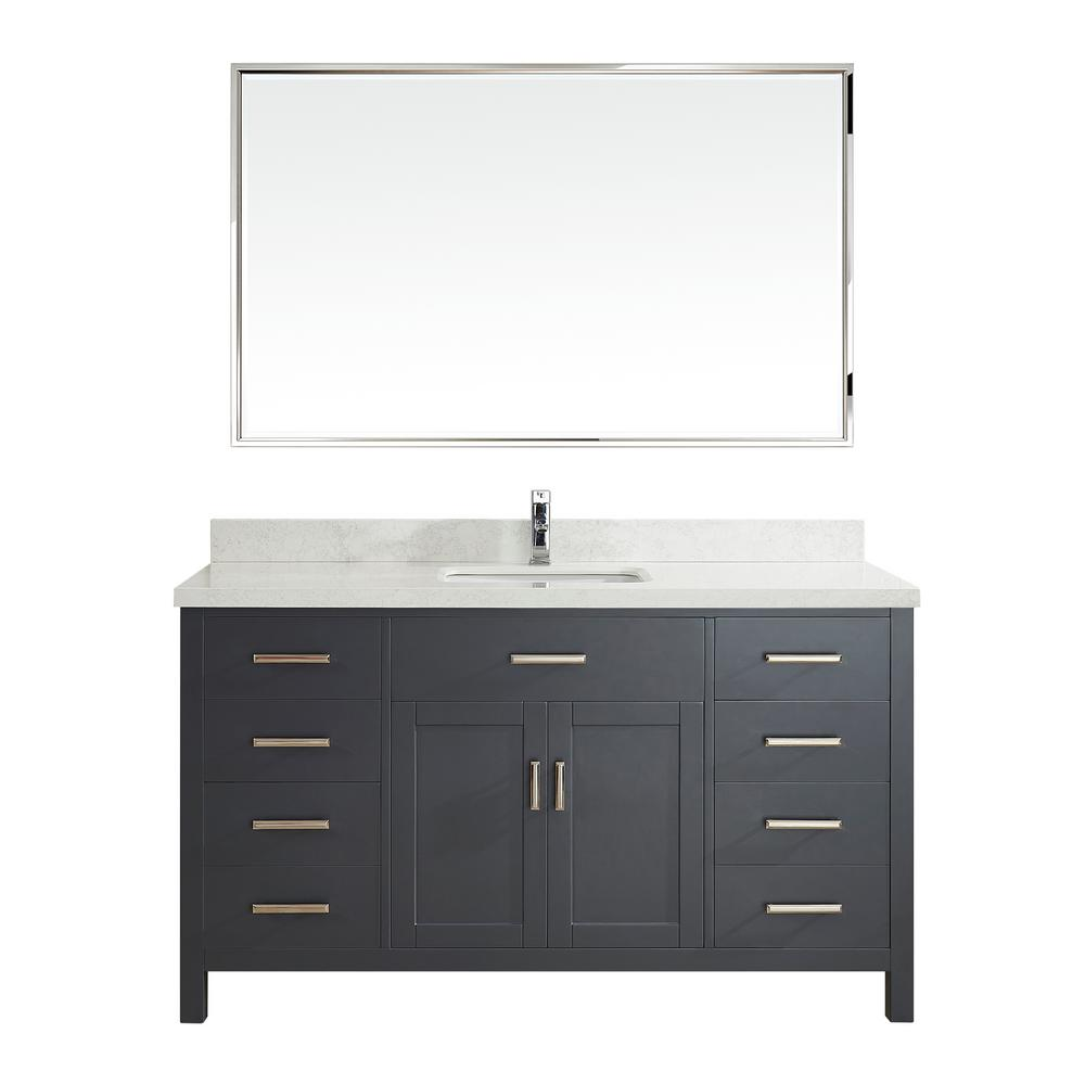 Studio Bathe Kalize II 60 in. W x 22 in. D Vanity in Pepper Gray with Engineered Vanity Top in White with White Basin and Mirror