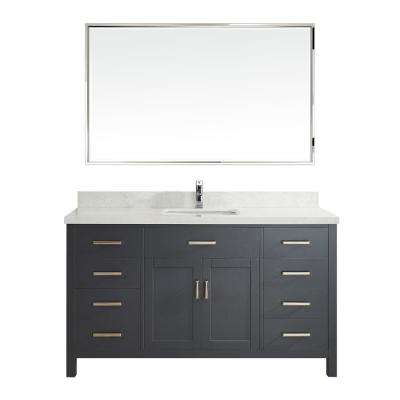 Kalize II 60 in. W x 22 in. D Vanity in Pepper Gray with Engineered Vanity Top in White with White Basin and Mirror