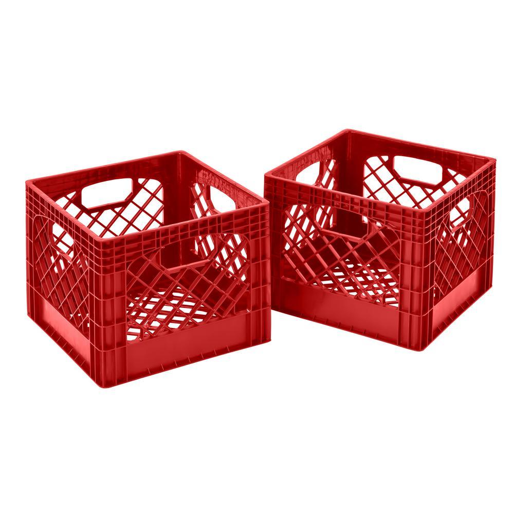 11 in. H x 13 in. W x 13 in. D Plastic Storage Milk Crate in Red (2-Pack)