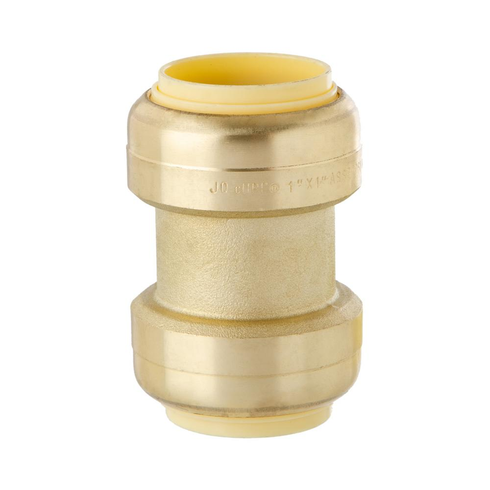 1 In Brass Push Fit Coupling Acpf16 The Home Depot