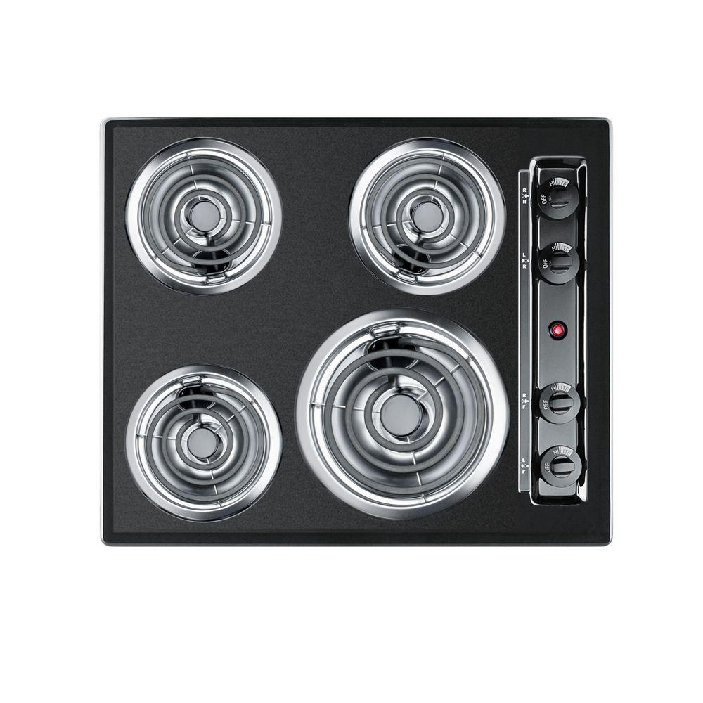 Summit 24 in. Coil Electric Cooktop in Black with 4 Elements