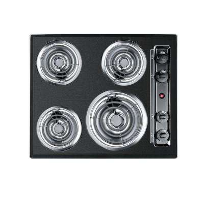 24 in. Coil Electric Cooktop in Black with 4 Elements