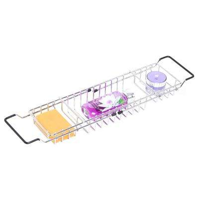 Expandable Metal Bathtub Caddy with Rubber Handles