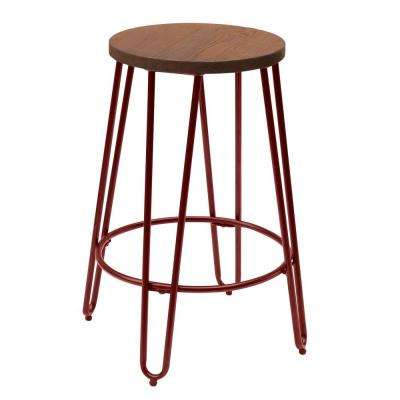 23.82 in. Matte Red Bar Stool