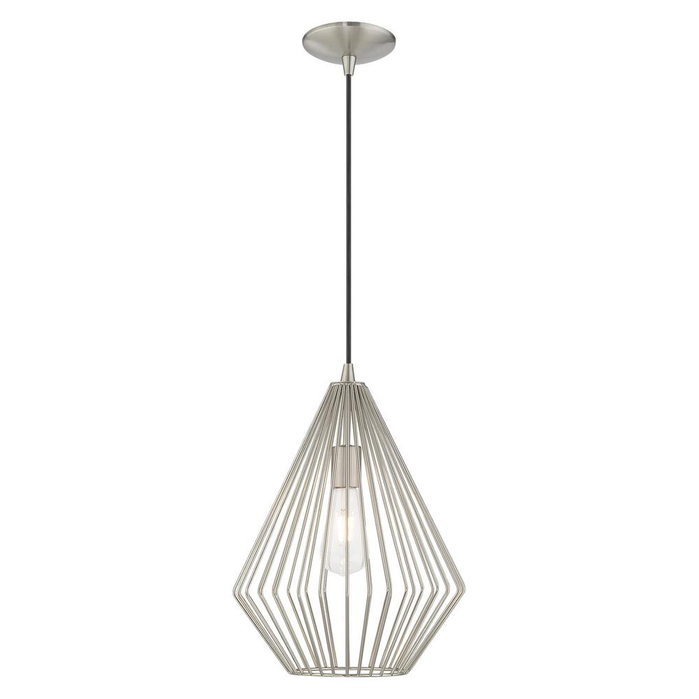 Livex Lighting 1 Light Brushed Nickel Geometric Mini Pendant