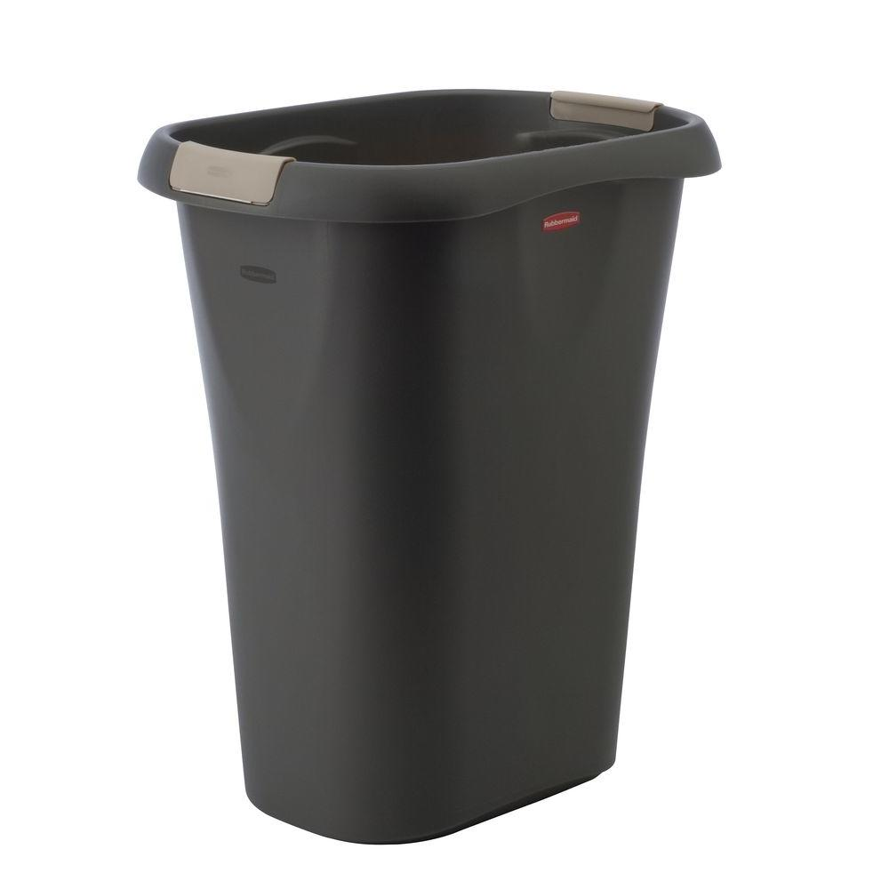 rubbermaid 8 gal black rectangular trash can with linerlock 1835854 the home depot. Black Bedroom Furniture Sets. Home Design Ideas