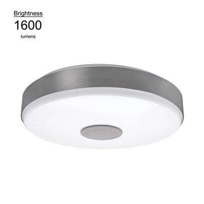 15 in. Brushed Nickel Bluetooth Speaker Bright White Color Temperature Integrated LED Flushmount Ceiling Light Fixture