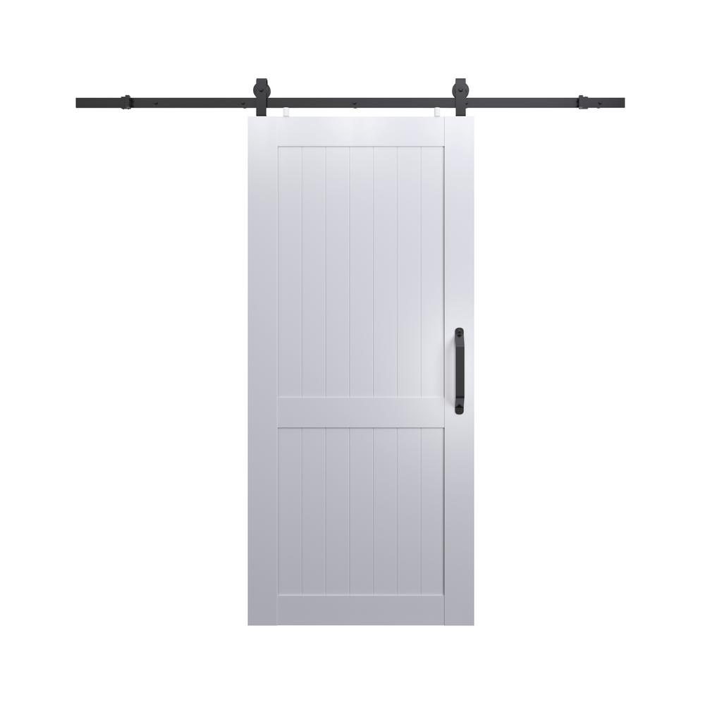 Pinecroft 42 in x 84 in millbrooke white h style pvc - How to install an exterior sliding barn door ...