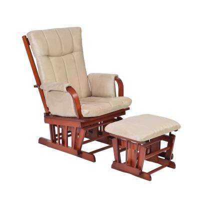 Home Deluxe Mocha Microfiber Cushion Glider Chair and Ottoman Set