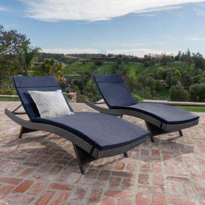 Salem Grey 4-Piece Wicker Outdoor Chaise Lounge with Navy Blue Cushions