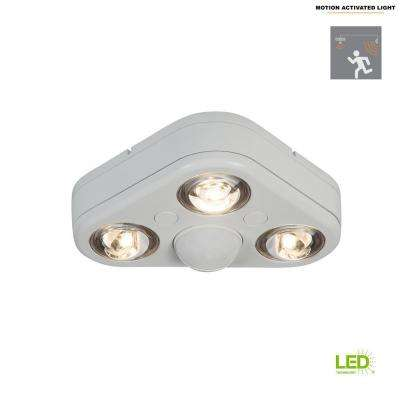 Revolve 270-Degree White Triple Head Motion Activated Outdoor Integrated LED Security Flood Light at 3500K Bright White