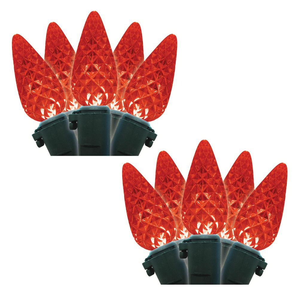 35-Light Red Faceted C6 LED Light Set (Set of 2)