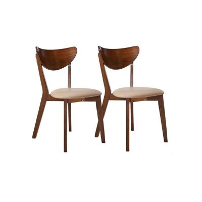 Kersey Collection Chestnut/Off White Wooden Dining Chair (Set of 2)